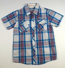 Спортно - елегантна риза с къс ръкав - FRANKY - светло синя с украсителни ленти за 12 годишни