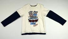 Страхотна памучна блуза с дълъг ръкав за момче - SPORTS - бяла от 4 до 7 годишни