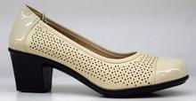 Стилни дамски обувки на нисък ток - ADYNA - бежови с перфорация
