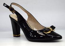Стилни дамски обувки на висок ток тип сандали - ALLY - черен лак