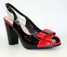 Дамски обувки на висок ток тип сандали - BECSKY - черен/червен лак