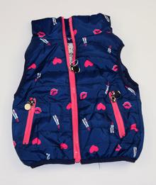 Спортна пролетно - есенна детска грейка тъмно синя с розови акценти от 1 до 5 г.