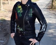 Дамско кожено пролетно яке - BLU DEISE - черно с модни пръски