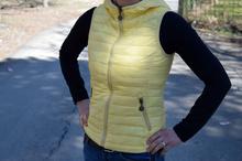 Дамска спортна грейка с две лица - AVA - пролетно жълто и сиво