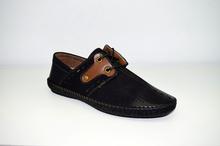 Мъжки спортни обувки ЕСТЕСТВЕНА КОЖА И НАБУК- KEVIN - черни с перфорация