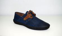 Мъжки спортни обувки ЕСТЕСТВЕНА КОЖА И НАБУК - KEVIN - тъмно сини с перфорация