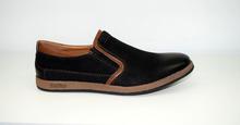 Мъжки спортни обувки ЕСТЕСТВЕНА КОЖА И НАБУК - черни