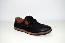 Мъжки спортни обувки ЕСТЕСТВЕНА КОЖА И НАБУК  с връзки - черни