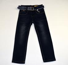 Модни дънки за момчета - EVAN - тъмно сини с колан за 6 и 8 години