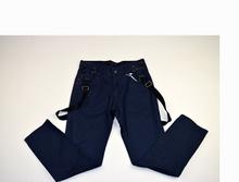 Моден панталон за момчета с тиранти - JSJ KIDS - тъмно син за 10 годишни