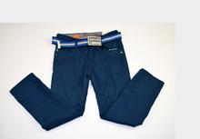 Моден плътен панталон за момчета - JEANS BOY FASHION - синьо-зелен от 8 до 14 годишни