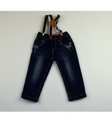 Детски дънки за момичета - ADIA - сини с тиранти за 1 и 2 години