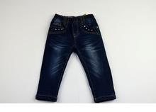 Детски дънки за момиче - ABBI - сини за 1 и 2 годинки топла подплата