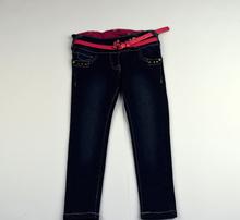 Модни дънки за момиченца на 4 години - сини с розов колан