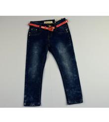 Модни юношески дънки за момичета с колан - сини от 4 до 12 годишни