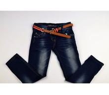 Дънки за момиче - AMORI - тъмно сини с колан  за 6 и 8 години