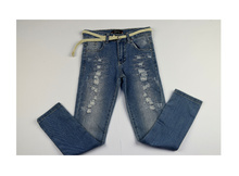 Модни дънки за момичета с кръпки и брокат - светло сини  от 8 до 12 годишни