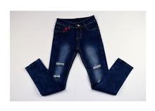 Модни юношески дънки за момичета с модни кръпки - тъмно сини от 8 до 16 годишни