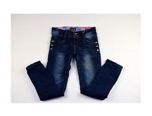 Модни плътни дънки за момичета - ALURA - тъмно сини от 10 до 14 годишни