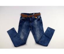 Свежи модни дънки за момичета - AMANDA - тъмно сини с колан от 8 до 14 годишни