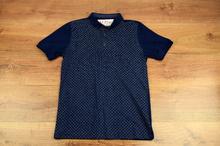 Мъжка тениска - ANTONIO - тъмно синя с яка и копчета