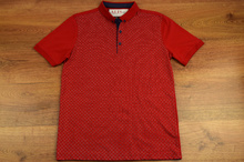 Модна мъжка тениска - SETH - червена с яка и копчета