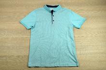Модна мъжка тениска - SETH - светло синя с яка и копчета