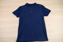 Мъжка тениска - BRYAN - тъмно синя с яка и копчета