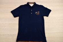 Мъжка тениска  - TWO - тъмно синя с яка и копчета