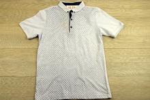 Мъжка тениска - JOY - бяла с яка и копчета
