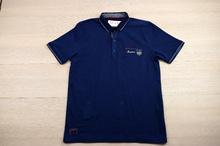 Мъжка тениска -DANIELLE- тъмно синя с яка и копчета
