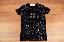 Модна мъжка тениска - MIGUEL - черна с ефектен надпис