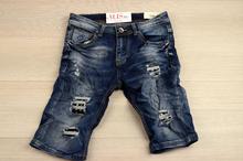 Модни мъжки къси дънки - EVAN - сини с капси