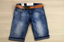 Модни дамски 3/4 дънки - ANNA - сини с колан