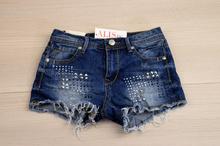 Къси дамски дънкови панталонки - VANESSA - сини с капси
