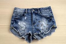 Уникални дамски къси панталонки - светло сини/ висока талия