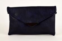 Клъч дамска чанта - тъмно синя