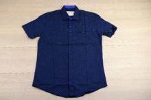 Памучна мъжка риза с къс ръкав - тъмно синя