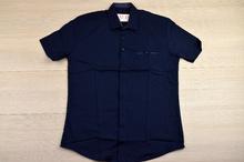 Памучна мъжка риза с къс ръкав - NSD - тъмно синя