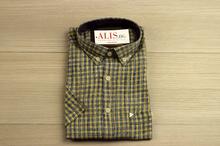Ленена мъжка риза - LINEN - кафява на цветни ивици