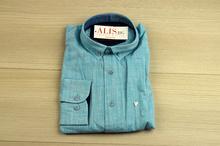 Ленена мъжка риза - LINEN - светло синя с дълъг ръкав