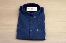 Комфортна мъжка ленена риза LINEN - тъмно синя до 2XL