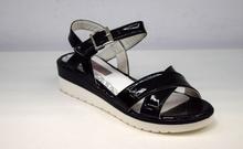 Лачени дамски сандали - EVA - черни