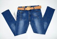 Дамски дънки големи размери - DEANA - сини с колан от 30 до 42 размер