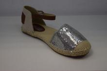 Комфортни дамски сандали - SILVER - сребро и пайети