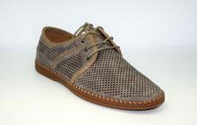 Спортно - елегантни мъжки обувки - IAN - бежови с перфорация