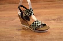 Дамски сандали - BEIGE - бежово с черно