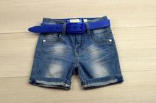 Къси дънки за момче - SMALL GANG - сини с колан за 4 и 7/8 години