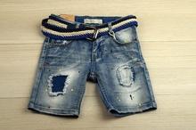 Модни къси дънки за момче - BOY - сини с колан за 4 години