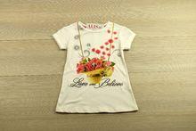 Блуза с къс ръкав - LOVE - бяла от 4 до 8 годишни